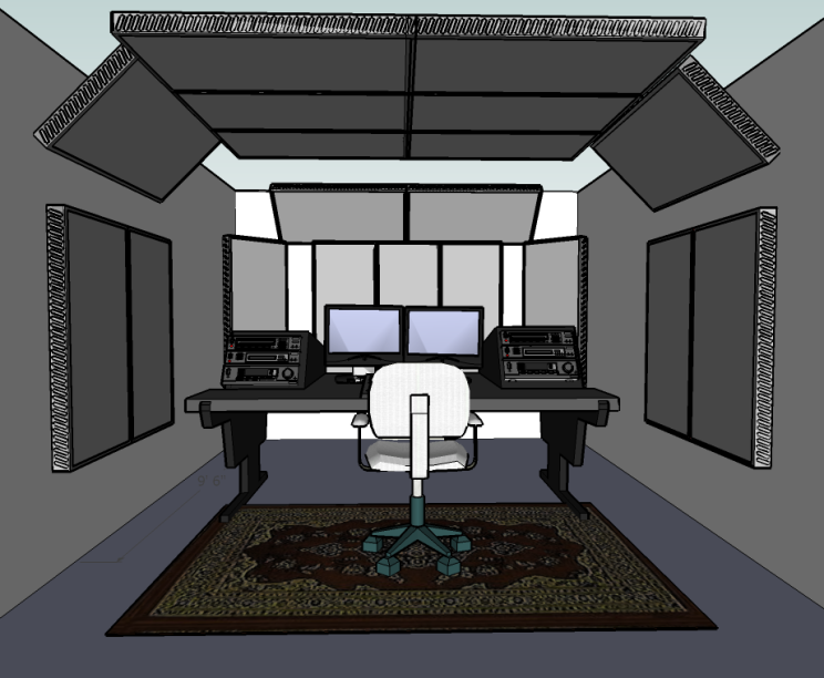 This is a quick 3D drawing I made for a client, showing the room setup and acoustic treatment for the front half of his studio.