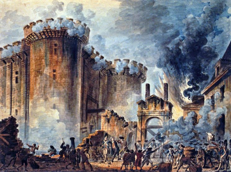 """The Storming of the Bastille"", by Jean-Pierre Houël. Public Domain."
